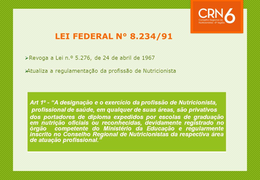 """LEI FEDERAL N° 8.234/91  Revoga a Lei n.º 5.276, de 24 de abril de 1967  Atualiza a regulamentação da profissão de Nutricionista Art 1º - """"A designa"""
