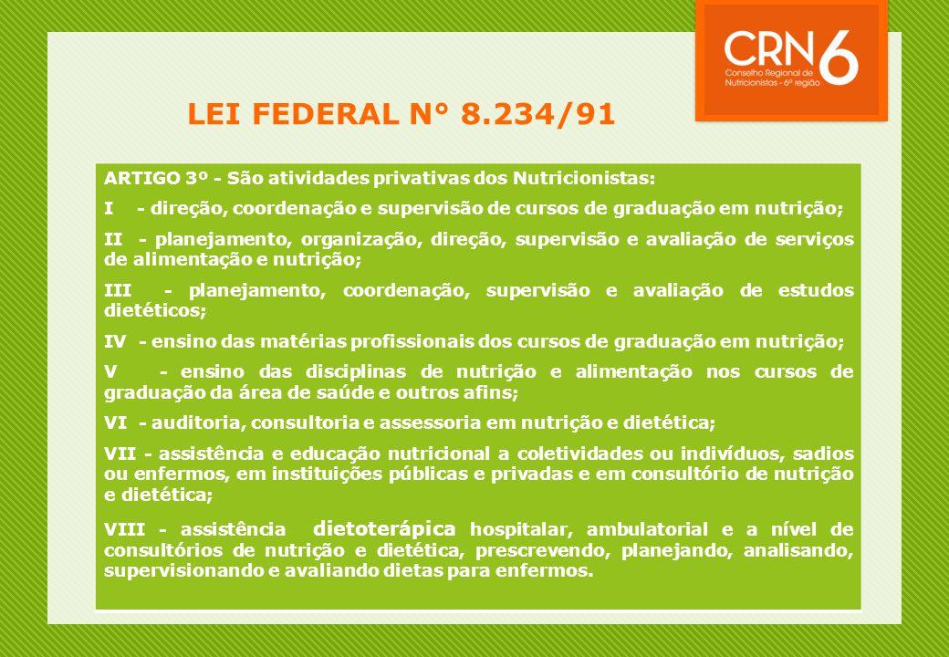 LEI FEDERAL N° 8.234/91 ARTIGO 3º - São atividades privativas dos Nutricionistas: I - direção, coordenação e supervisão de cursos de graduação em nutr