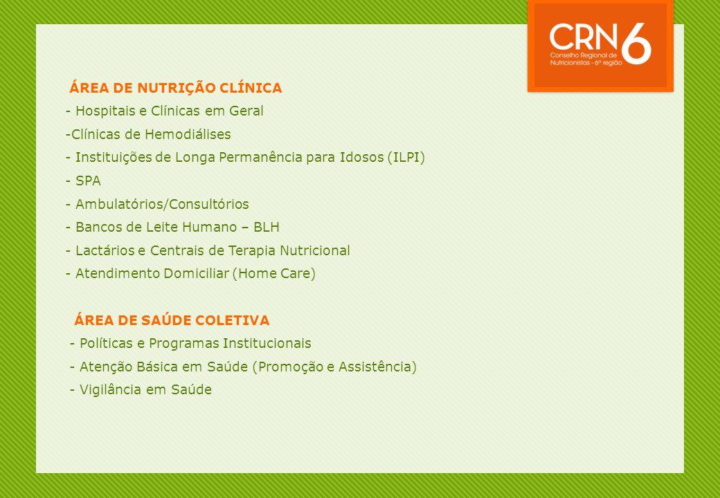 ÁREA DE NUTRIÇÃO CLÍNICA - Hospitais e Clínicas em Geral -Clínicas de Hemodiálises - Instituições de Longa Permanência para Idosos (ILPI) - SPA - Ambu