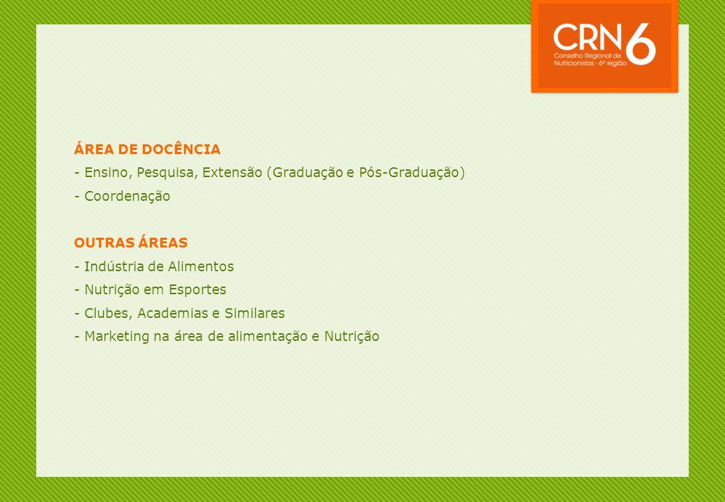 ÁREA DE DOCÊNCIA - Ensino, Pesquisa, Extensão (Graduação e Pós-Graduação) - Coordenação OUTRAS ÁREAS - Indústria de Alimentos - Nutrição em Esportes -