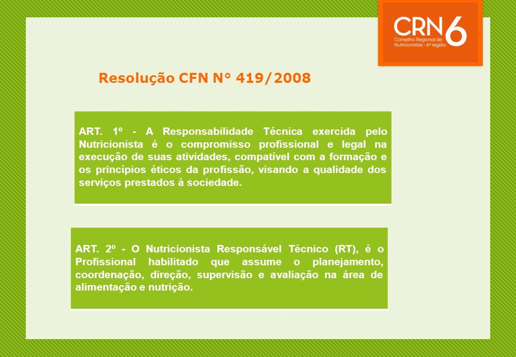 Resolução CFN N° 419/2008 ART. 1º - A Responsabilidade Técnica exercida pelo Nutricionista é o compromisso profissional e legal na execução de suas at