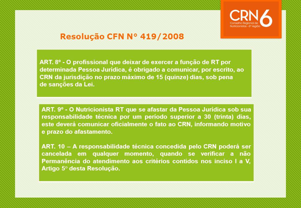 Resolução CFN N° 419/2008 ART. 8º - O profissional que deixar de exercer a função de RT por determinada Pessoa Jurídica, é obrigado a comunicar, por e