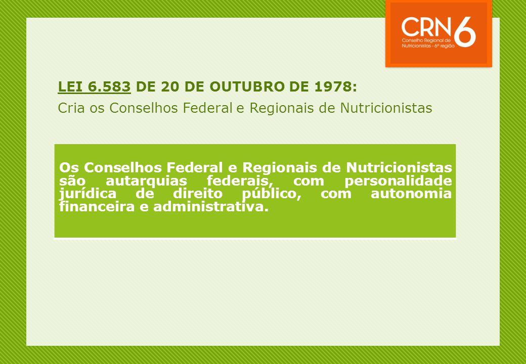 LEI 6.583 DE 20 DE OUTUBRO DE 1978: Cria os Conselhos Federal e Regionais de Nutricionistas Os Conselhos Federal e Regionais de Nutricionistas são aut