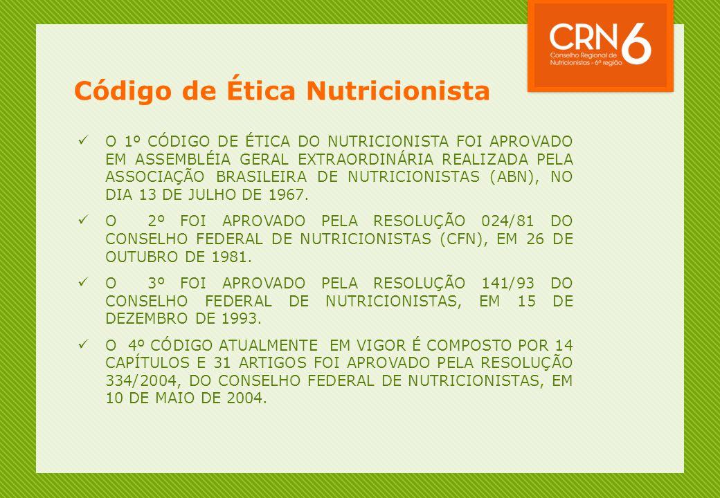 Código de Ética Nutricionista  O 1º CÓDIGO DE ÉTICA DO NUTRICIONISTA FOI APROVADO EM ASSEMBLÉIA GERAL EXTRAORDINÁRIA REALIZADA PELA ASSOCIAÇÃO BRASIL