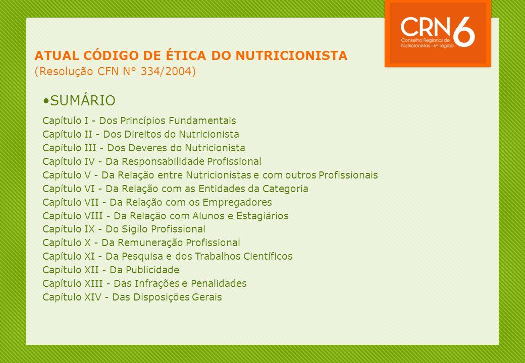 ATUAL CÓDIGO DE ÉTICA DO NUTRICIONISTA (Resolução CFN N° 334/2004) •SUMÁRIO Capítulo I - Dos Princípios Fundamentais Capítulo II - Dos Direitos do Nut