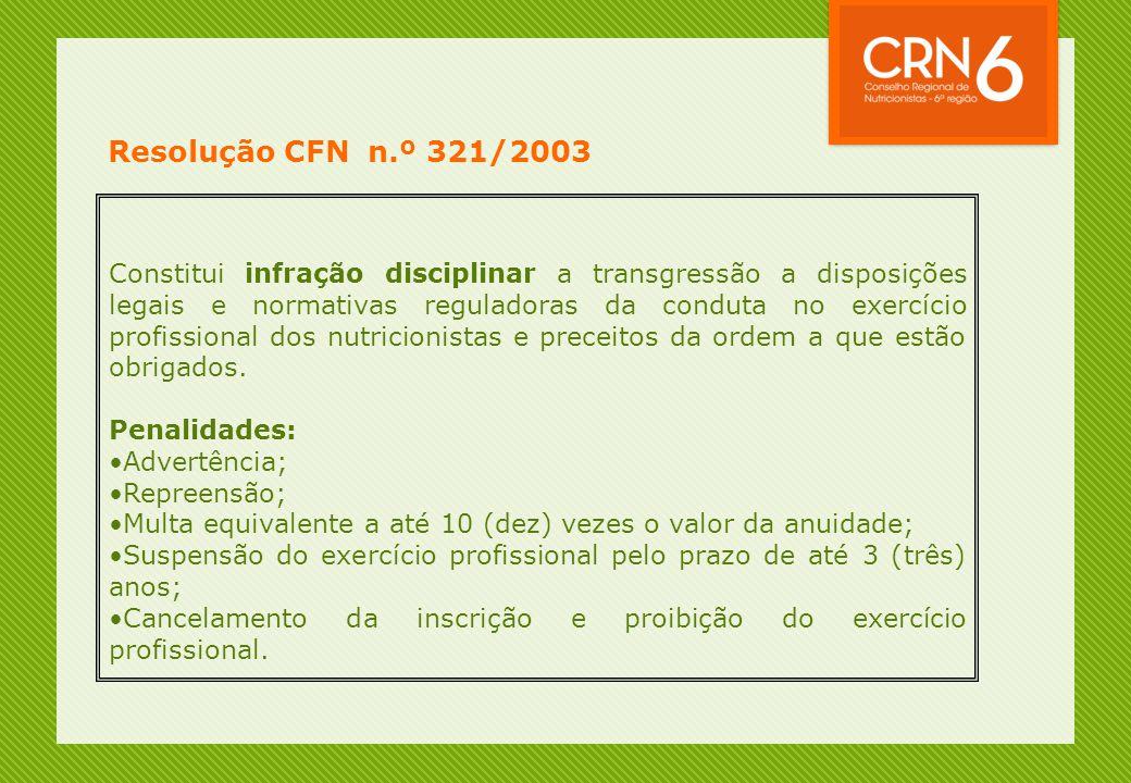 Resolução CFN n.º 321/2003 Constitui infração disciplinar a transgressão a disposições legais e normativas reguladoras da conduta no exercício profiss