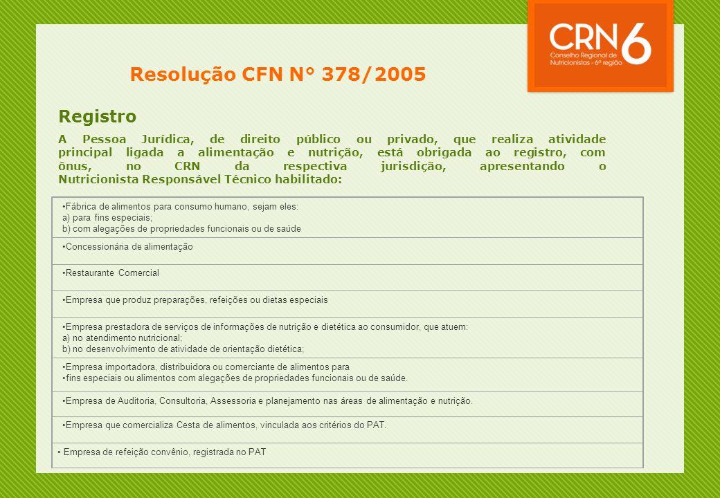 Resolução CFN N° 378/2005 Registro A Pessoa Jurídica, de direito público ou privado, que realiza atividade principal ligada a alimentação e nutrição,