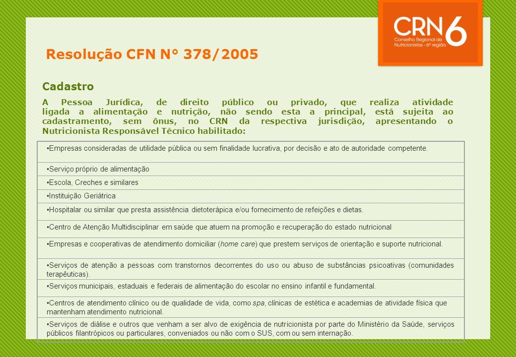 Resolução CFN N° 378/2005 Cadastro A Pessoa Jurídica, de direito público ou privado, que realiza atividade ligada a alimentação e nutrição, não sendo