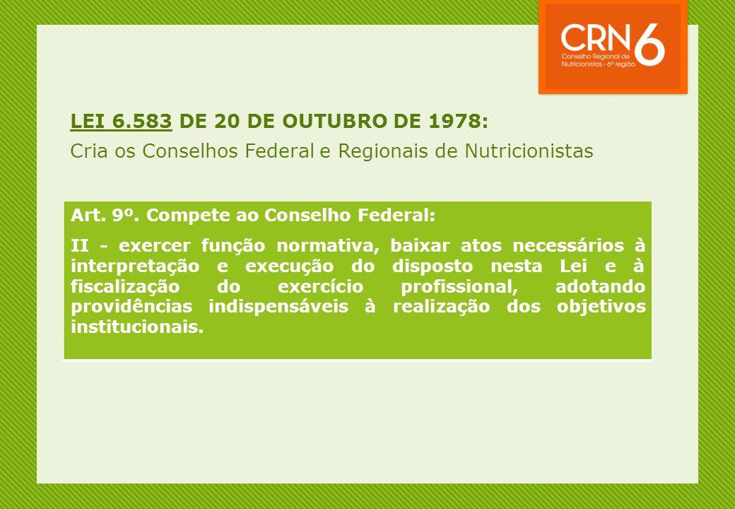 LEI 6.583 DE 20 DE OUTUBRO DE 1978: Cria os Conselhos Federal e Regionais de Nutricionistas Art. 9º. Compete ao Conselho Federal: II - exercer função