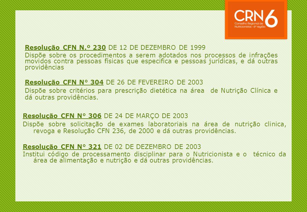 Resolução CFN N.º 230 DE 12 DE DEZEMBRO DE 1999 Dispõe sobre os procedimentos a serem adotados nos processos de infrações movidos contra pessoas físic