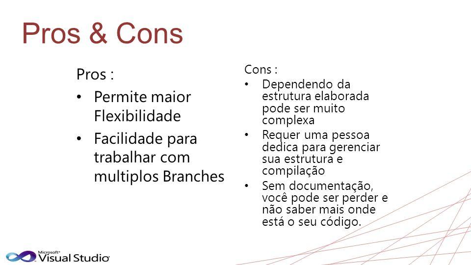 Pros & Cons Pros : • Permite maior Flexibilidade • Facilidade para trabalhar com multiplos Branches Cons : • Dependendo da estrutura elaborada pode se