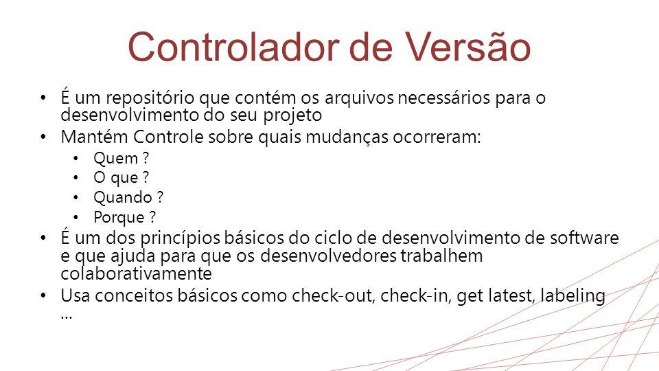 Controlador de Versão • É um repositório que contém os arquivos necessários para o desenvolvimento do seu projeto • Mantém Controle sobre quais mudanç