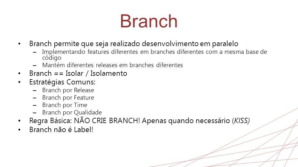 Branch • Branch permite que seja realizado desenvolvimento em paralelo – Implementando features diferentes em branches diferentes com a mesma base de