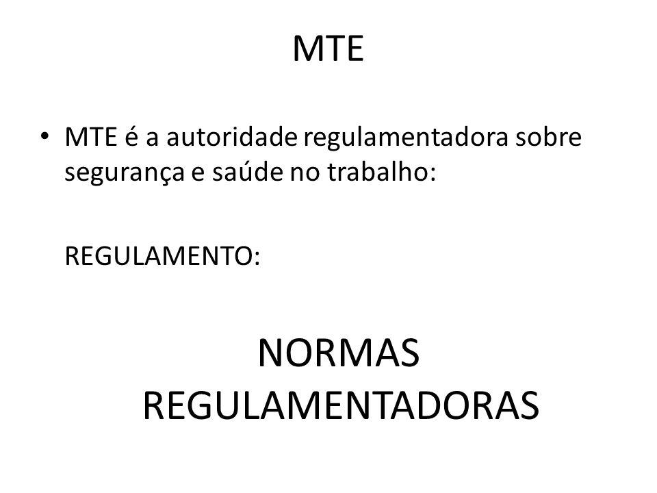 MTE • MTE é a autoridade regulamentadora sobre segurança e saúde no trabalho: REGULAMENTO: NORMAS REGULAMENTADORAS