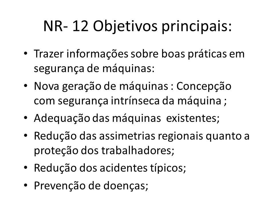 NR- 12 Objetivos principais: • Trazer informações sobre boas práticas em segurança de máquinas: • Nova geração de máquinas : Concepção com segurança i