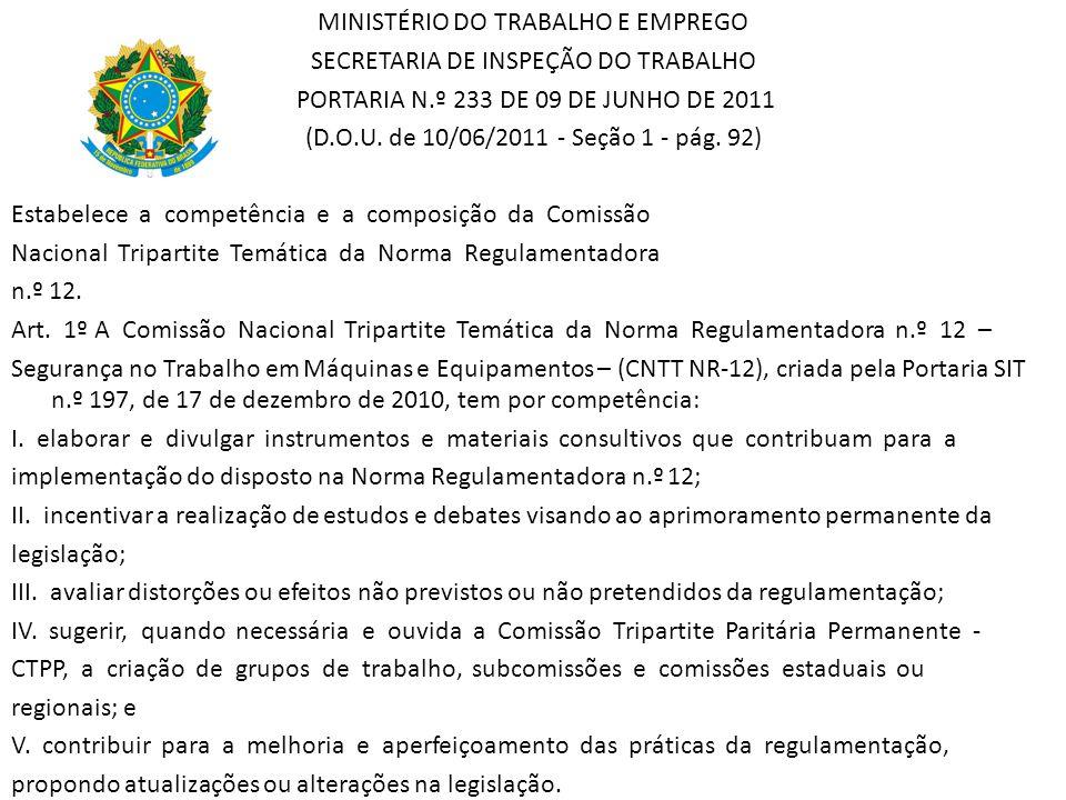 MINISTÉRIO DO TRABALHO E EMPREGO SECRETARIA DE INSPEÇÃO DO TRABALHO PORTARIA N.º 233 DE 09 DE JUNHO DE 2011 (D.O.U. de 10/06/2011 - Seção 1 - pág. 92)