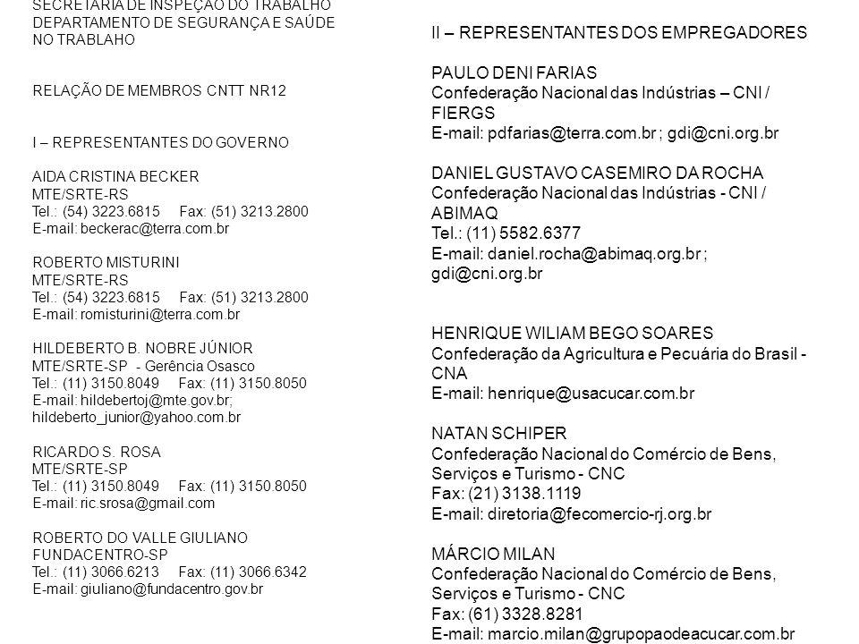 SECRETARIA DE INSPEÇÃO DO TRABALHO DEPARTAMENTO DE SEGURANÇA E SAÚDE NO TRABLAHO RELAÇÃO DE MEMBROS CNTT NR12 I – REPRESENTANTES DO GOVERNO AIDA CRIST