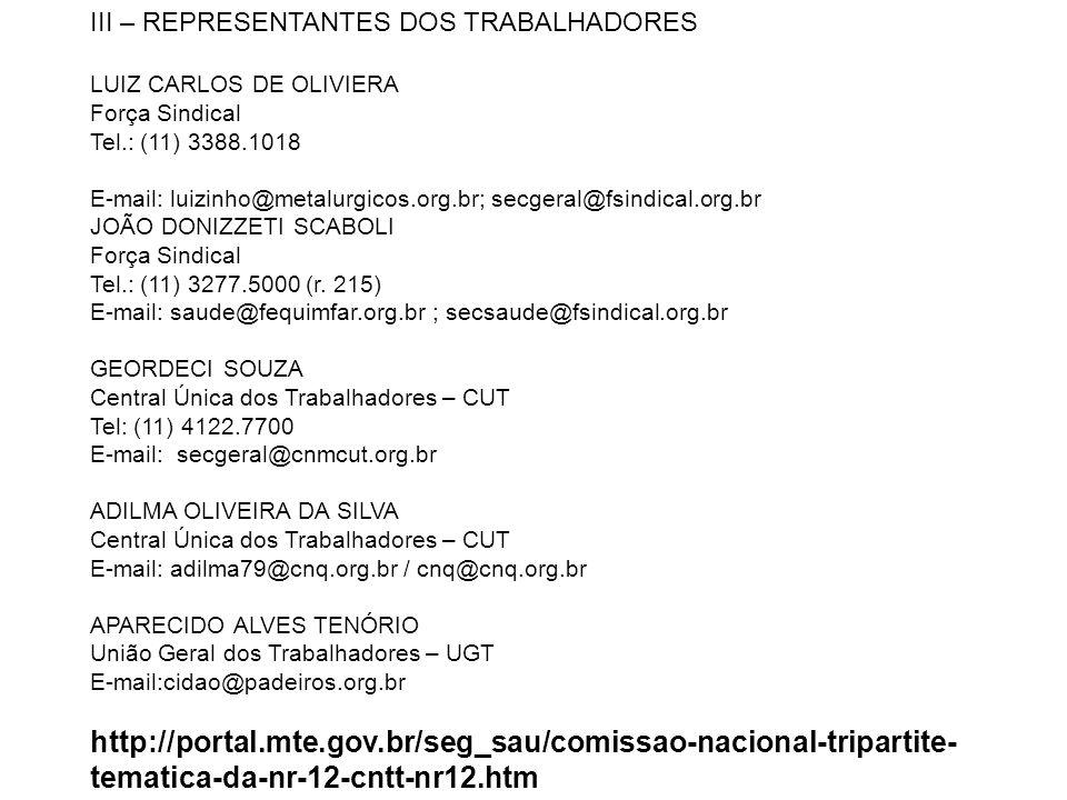 III – REPRESENTANTES DOS TRABALHADORES LUIZ CARLOS DE OLIVIERA Força Sindical Tel.: (11) 3388.1018 E-mail: luizinho@metalurgicos.org.br; secgeral@fsin