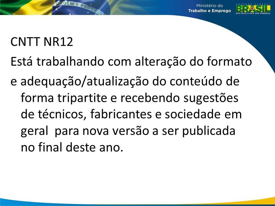 CNTT NR12 Está trabalhando com alteração do formato e adequação/atualização do conteúdo de forma tripartite e recebendo sugestões de técnicos, fabrica
