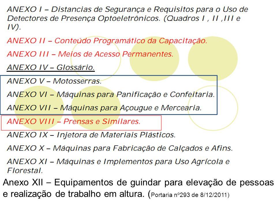 Anexo XII – Equipamentos de guindar para elevação de pessoas e realização de trabalho em altura. ( Portaria nº293 de 8/12/2011)