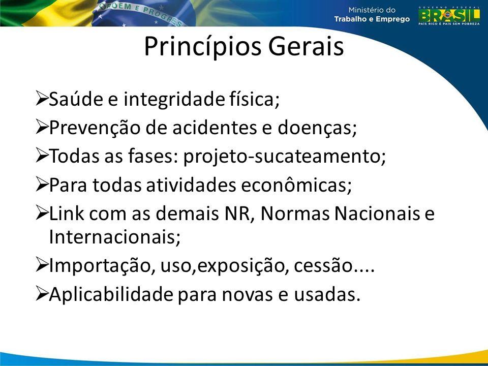 Princípios Gerais  Saúde e integridade física;  Prevenção de acidentes e doenças;  Todas as fases: projeto-sucateamento;  Para todas atividades ec