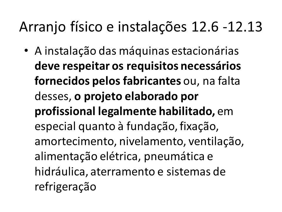 Arranjo físico e instalações 12.6 -12.13 • A instalação das máquinas estacionárias deve respeitar os requisitos necessários fornecidos pelos fabricant