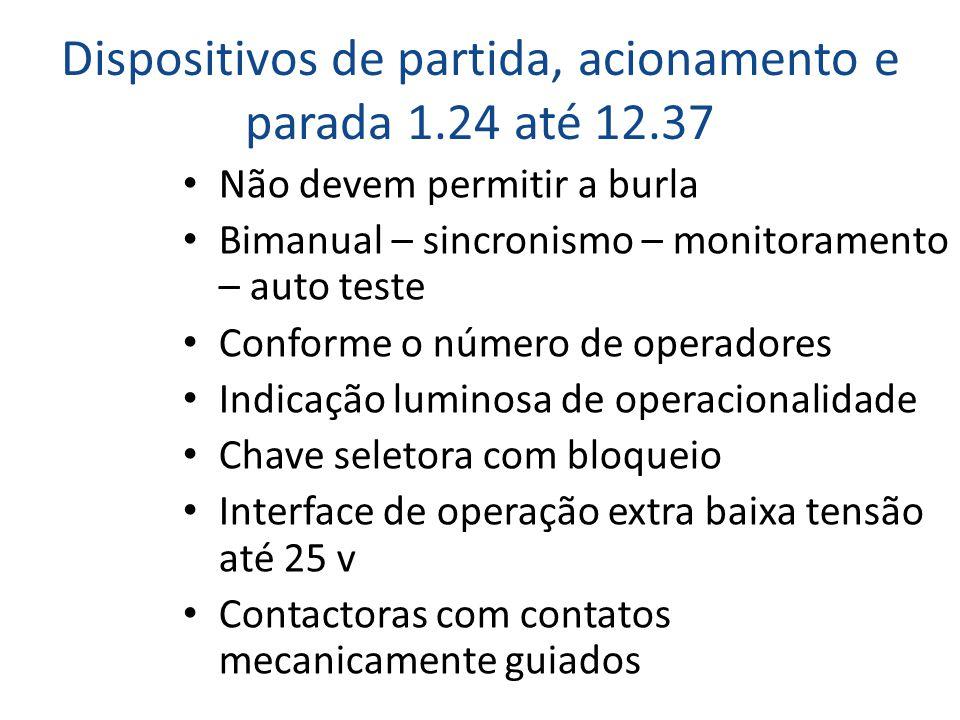 Dispositivos de partida, acionamento e parada 1.24 até 12.37 • Não devem permitir a burla • Bimanual – sincronismo – monitoramento – auto teste • Conf