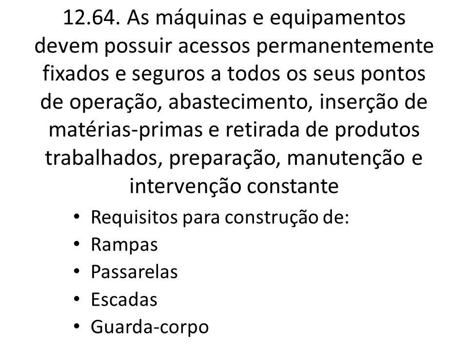 12.64. As máquinas e equipamentos devem possuir acessos permanentemente fixados e seguros a todos os seus pontos de operação, abastecimento, inserção