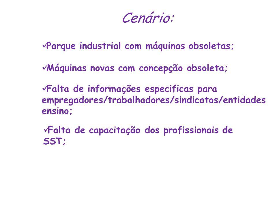 Cenário:  Falta de capacitação dos profissionais de SST;  Falta de informações especificas para empregadores/trabalhadores/sindicatos/entidades ensi