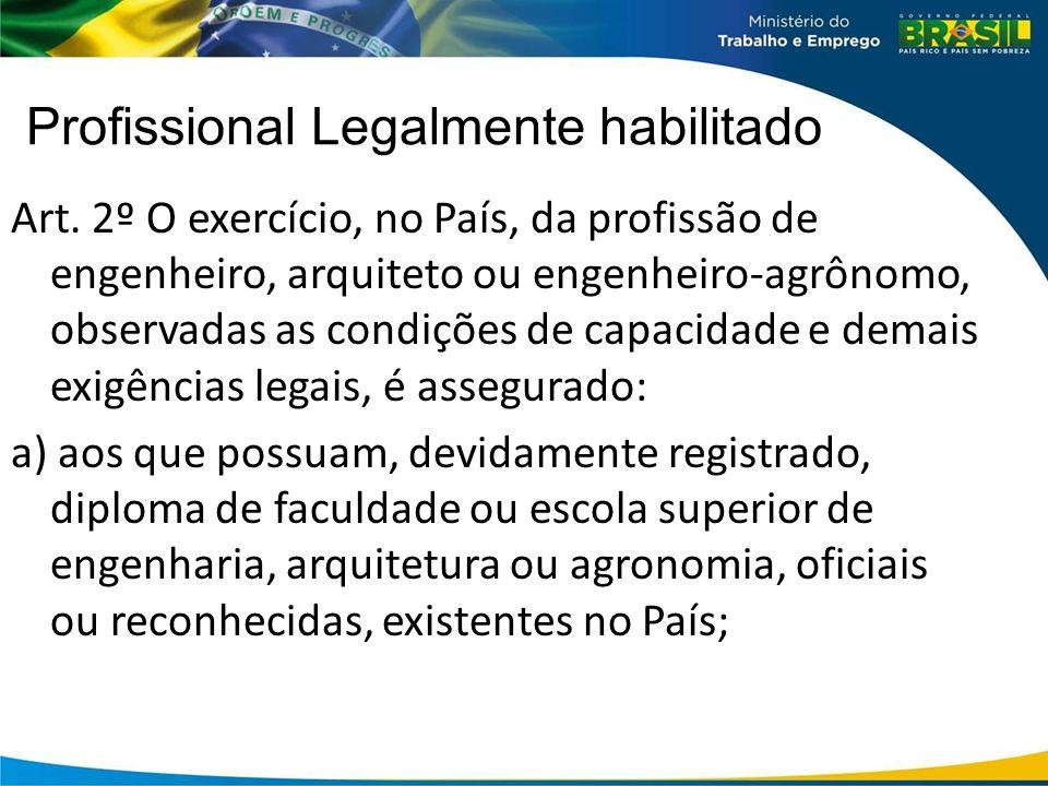 Profissional Legalmente habilitado Art. 2º O exercício, no País, da profissão de engenheiro, arquiteto ou engenheiro-agrônomo, observadas as condições