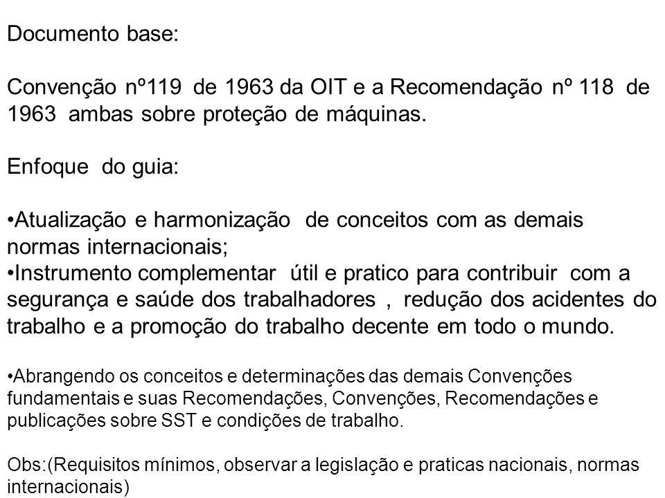 Documento base: Convenção nº119 de 1963 da OIT e a Recomendação nº 118 de 1963 ambas sobre proteção de máquinas. Enfoque do guia: •Atualização e harmo