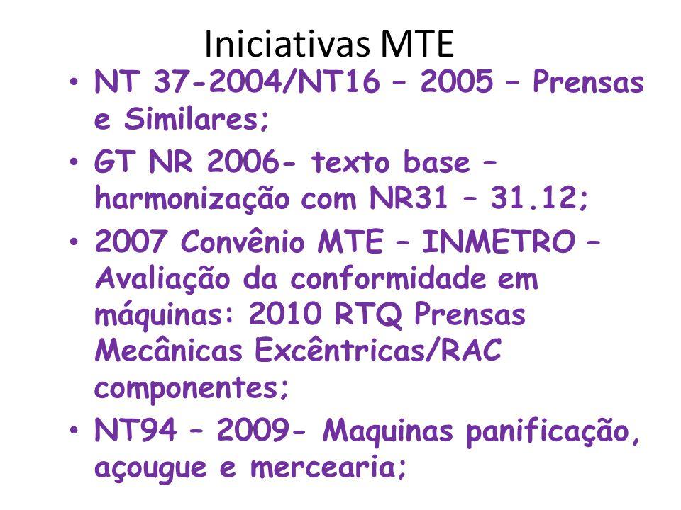 Iniciativas MTE • NT 37-2004/NT16 – 2005 – Prensas e Similares; • GT NR 2006- texto base – harmonização com NR31 – 31.12; • 2007 Convênio MTE – INMETR