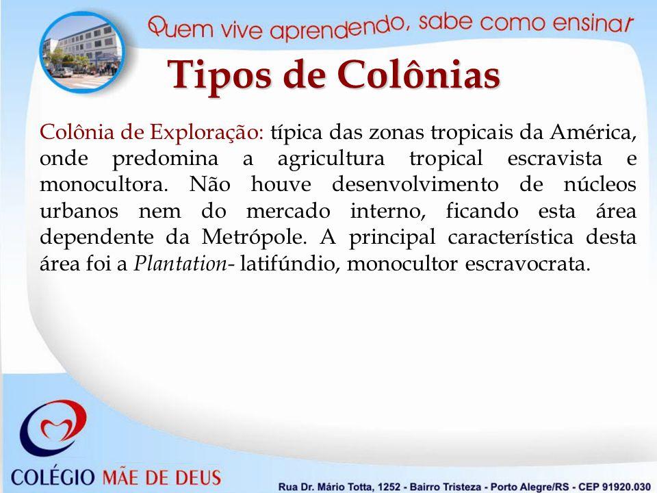 Colônia de Exploração: típica das zonas tropicais da América, onde predomina a agricultura tropical escravista e monocultora.