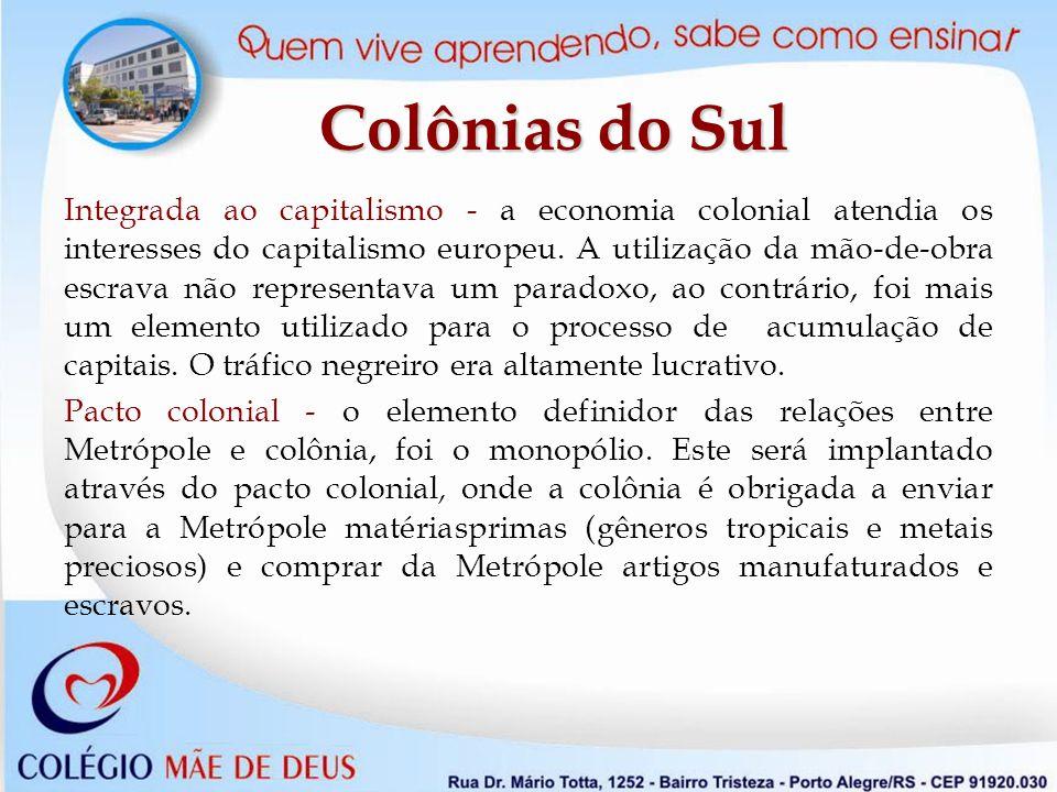 Integrada ao capitalismo - a economia colonial atendia os interesses do capitalismo europeu.