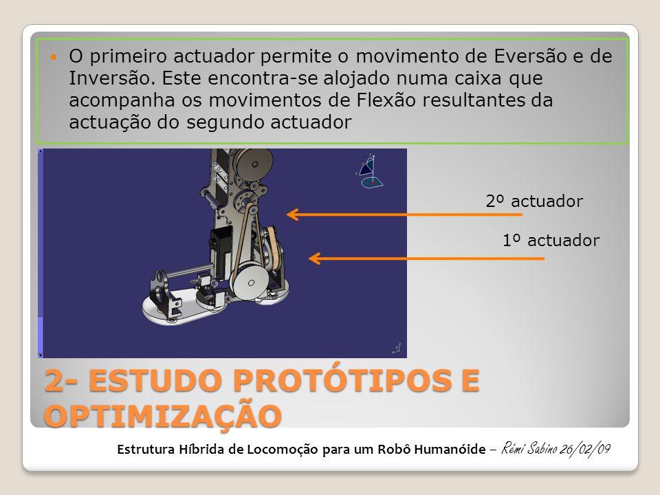 2- ESTUDO PROTÓTIPOS E OPTIMIZAÇÃO  O primeiro actuador permite o movimento de Eversão e de Inversão. Este encontra-se alojado numa caixa que acompan