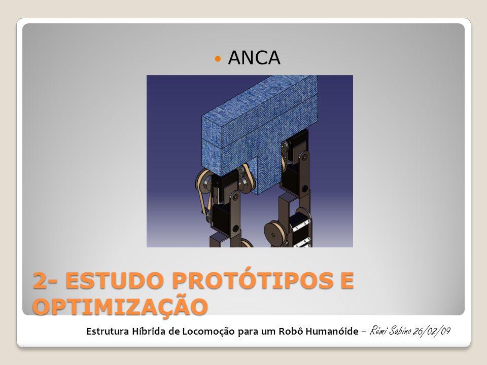 2- ESTUDO PROTÓTIPOS E OPTIMIZAÇÃO  ANCA Estrutura Híbrida de Locomoção para um Robô Humanóide – Rémi Sabino 26/02/09