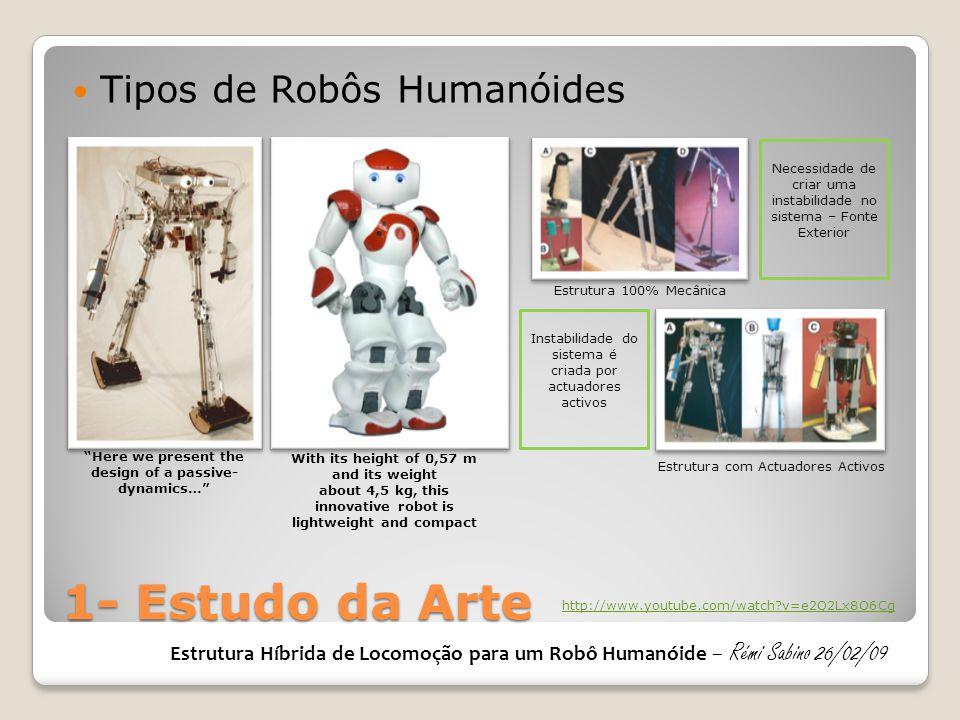 2- ESTUDO PROTÓTIPOS E OPTIMIZAÇÃO  PERNAS Estrutura Híbrida de Locomoção para um Robô Humanóide – Rémi Sabino 26/02/09