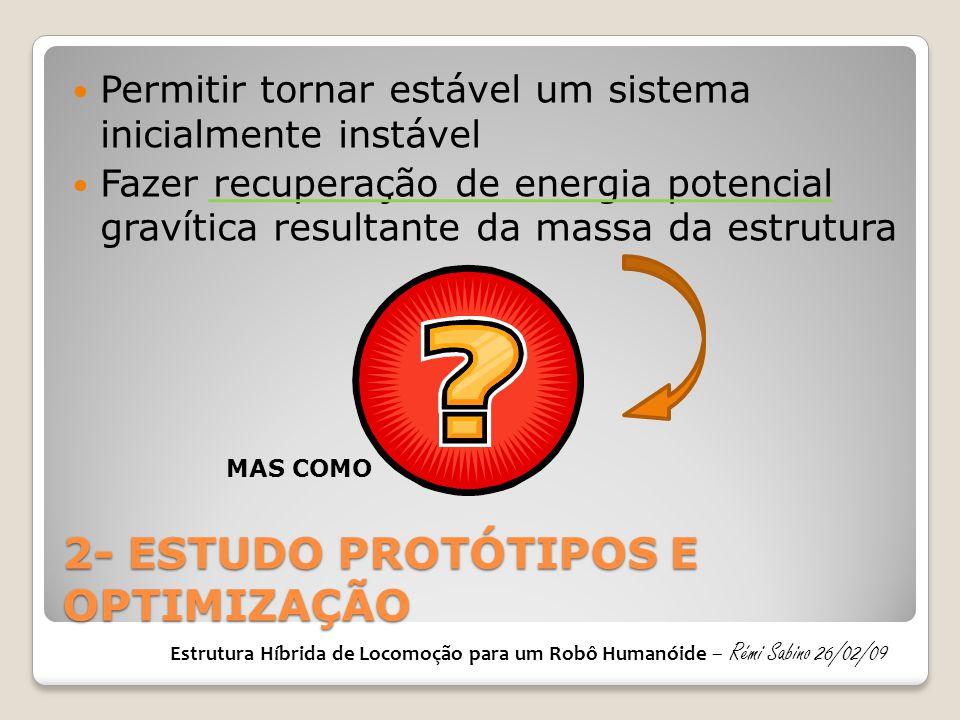 2- ESTUDO PROTÓTIPOS E OPTIMIZAÇÃO  Permitir tornar estável um sistema inicialmente instável  Fazer recuperação de energia potencial gravítica resul