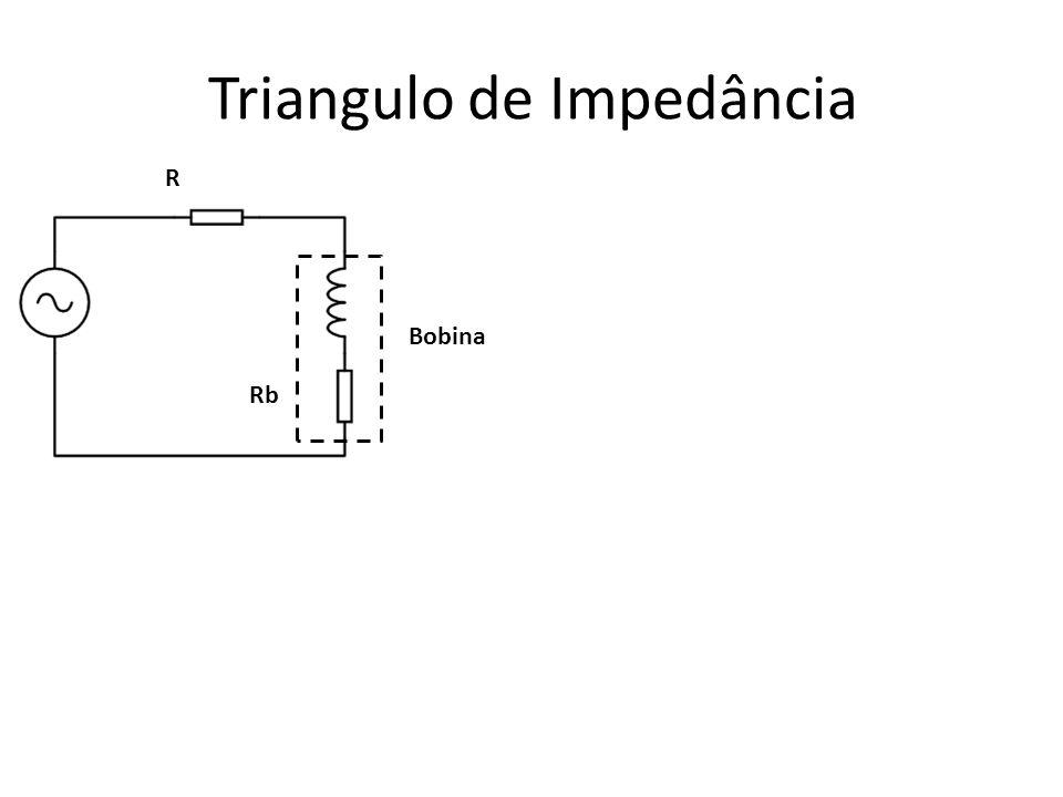 Triangulo de Impedância Bobina R Rb Zt = (R + Re) +j XL Zt = I Zt I ∟Φ I Zt I = √ (Rt 2 + XL 2 ) I Zt I = √ (Rt 2 + (ω.L) 2 ) I Zt I = √ (Rt 2 + (2.π.f.L) 2 ) I Zt I = √ (Rt 2 + (2 2.π 2.f 2.L 2 )) Φ = arc tan (XL / Rt) Φ = arc tan ((2.π.f.L )/ Rt) (R + Re) j XL Zt Φ