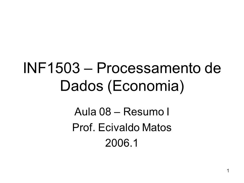 1 INF1503 – Processamento de Dados (Economia) Aula 08 – Resumo I Prof. Ecivaldo Matos 2006.1