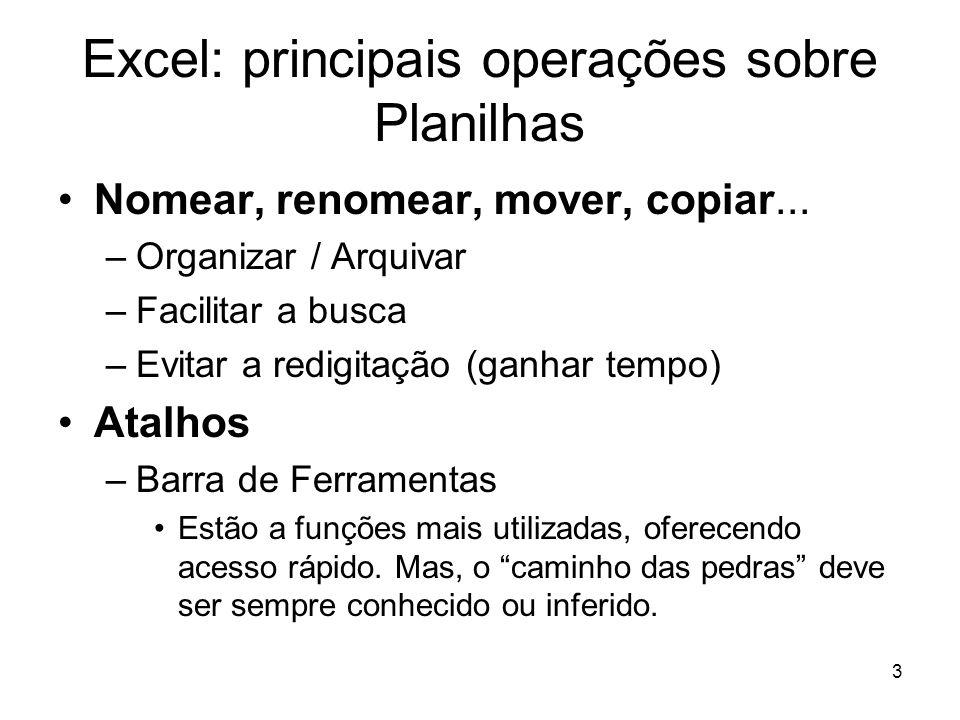 3 Excel: principais operações sobre Planilhas •Nomear, renomear, mover, copiar... –Organizar / Arquivar –Facilitar a busca –Evitar a redigitação (ganh