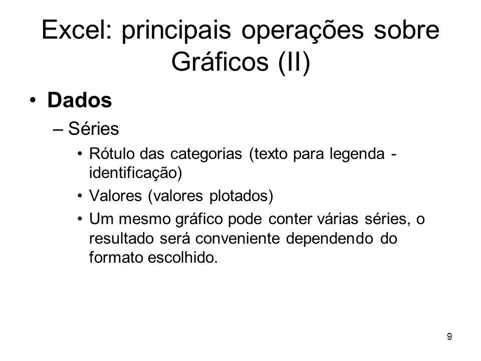 9 Excel: principais operações sobre Gráficos (II) •Dados –Séries •Rótulo das categorias (texto para legenda - identificação) •Valores (valores plotado