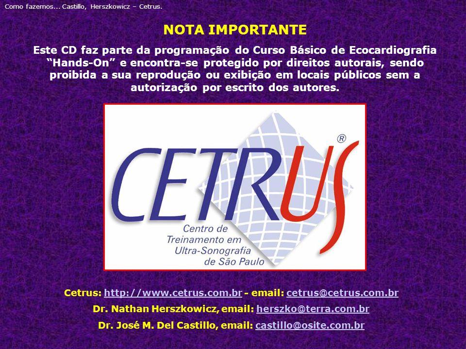 """Como fazemos... Castillo, Herszkowicz – Cetrus. NOTA IMPORTANTE Este CD faz parte da programação do Curso Básico de Ecocardiografia """"Hands-On"""" e encon"""
