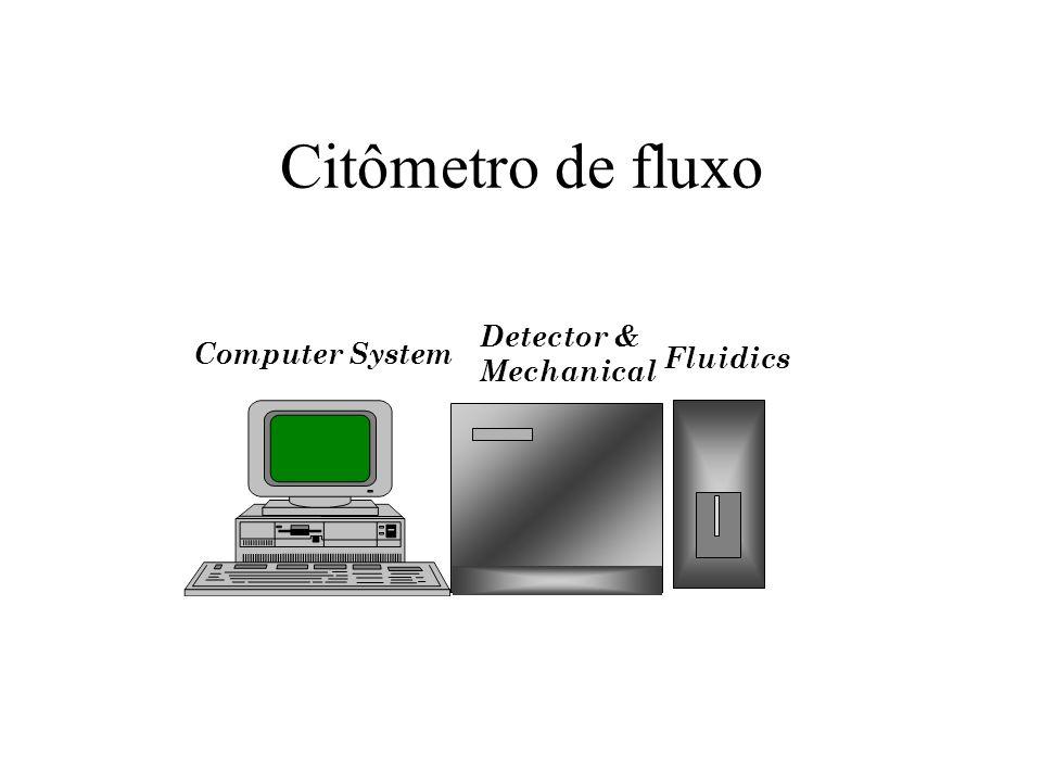 Célula de Fluxo Injector Tip Fluorescence signals Focused laser beam Sheath fluid