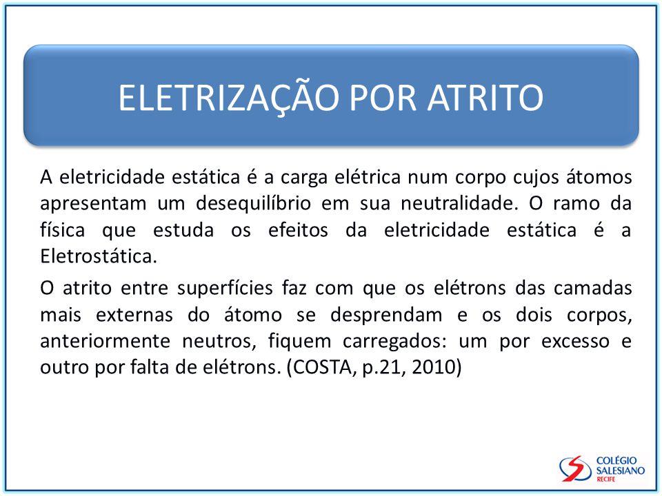 ELETRIZAÇÃO POR ATRITO A eletricidade estática é a carga elétrica num corpo cujos átomos apresentam um desequilíbrio em sua neutralidade.