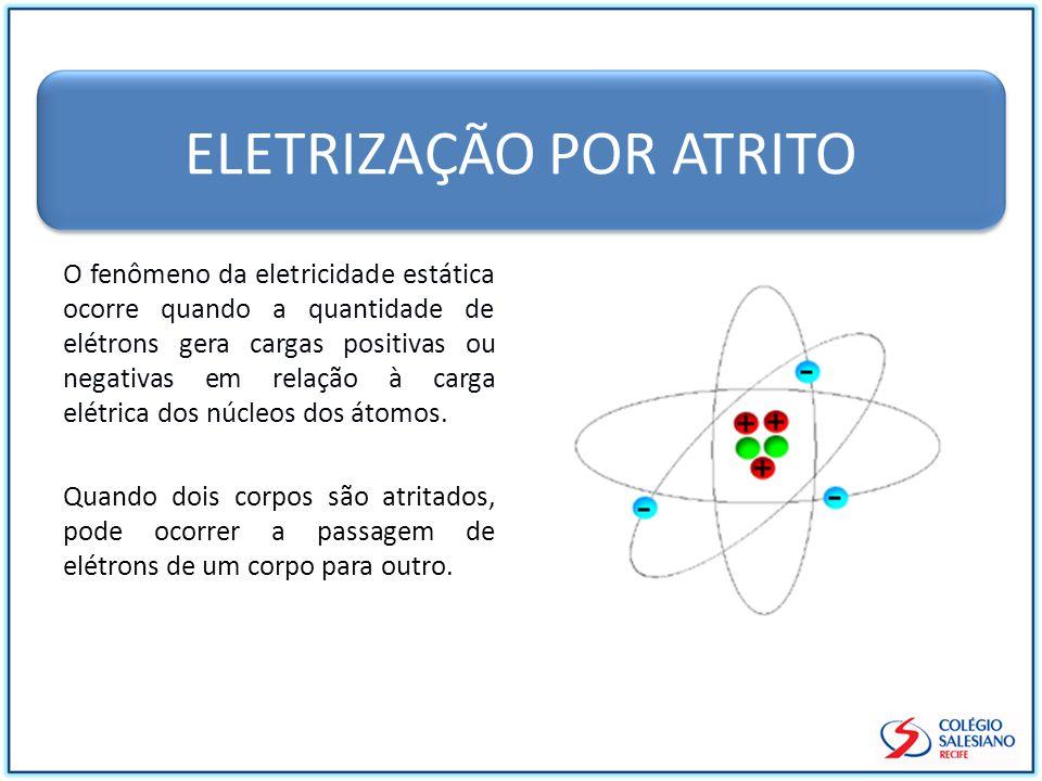 ELETRIZAÇÃO POR ATRITO O fenômeno da eletricidade estática ocorre quando a quantidade de elétrons gera cargas positivas ou negativas em relação à carga elétrica dos núcleos dos átomos.