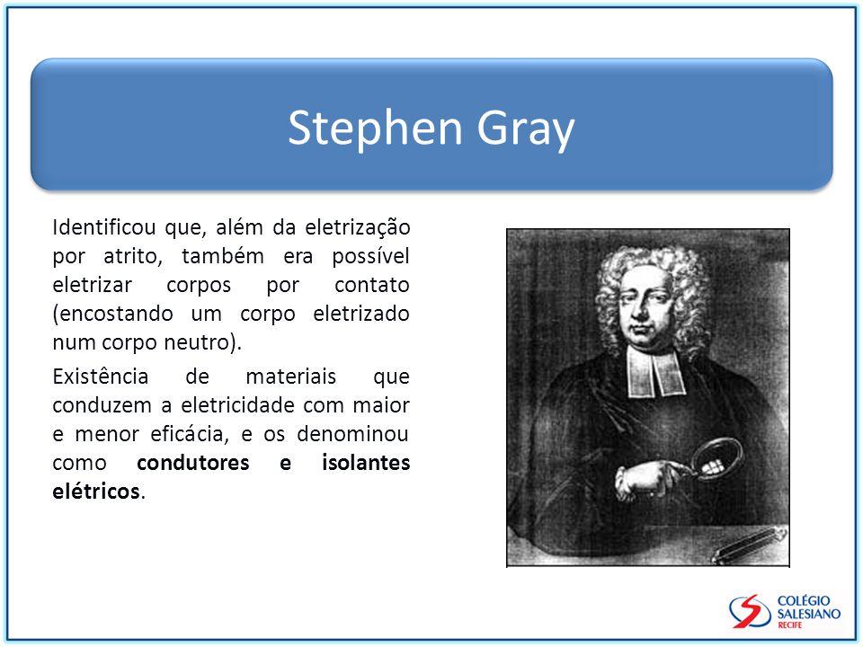 Stephen Gray Identificou que, além da eletrização por atrito, também era possível eletrizar corpos por contato (encostando um corpo eletrizado num cor