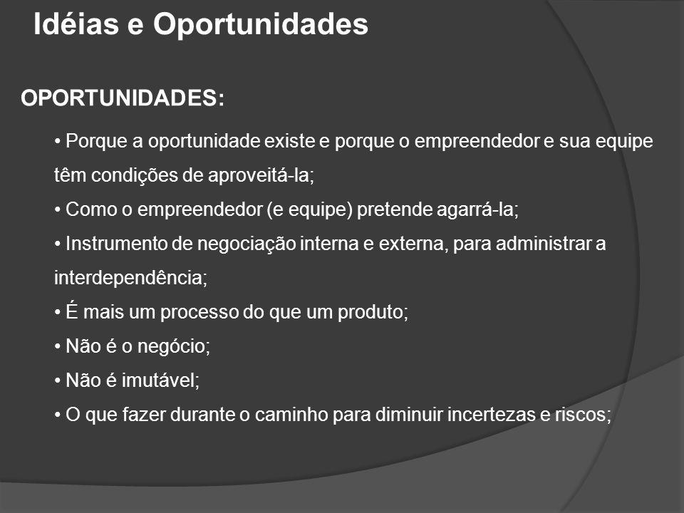 OPORTUNIDADES: • Porque a oportunidade existe e porque o empreendedor e sua equipe têm condições de aproveitá-la; • Como o empreendedor (e equipe) pre