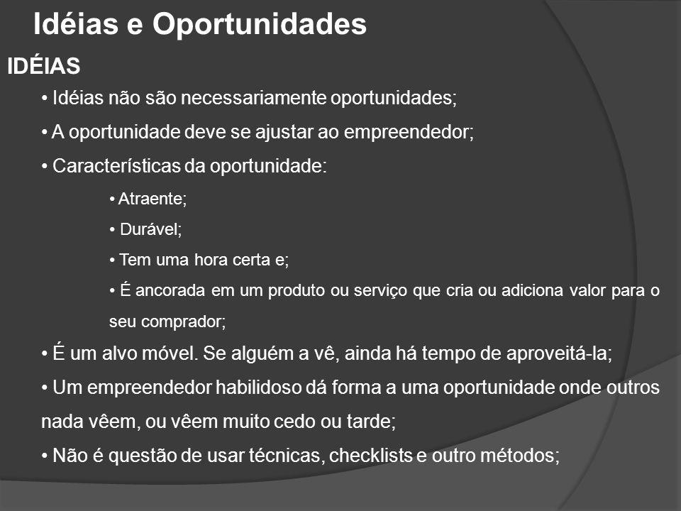 IDÉIAS • Idéias não são necessariamente oportunidades; • A oportunidade deve se ajustar ao empreendedor; • Características da oportunidade: • Atraente