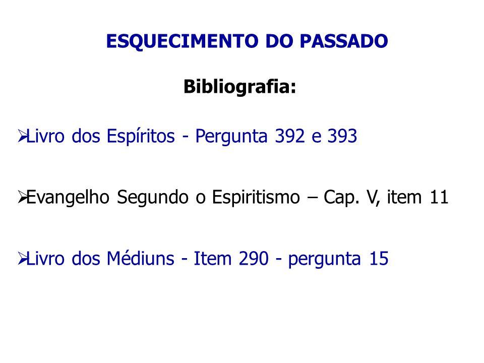 ESQUECIMENTO DO PASSADO Bibliografia:  Livro dos Espíritos - Pergunta 392 e 393  Evangelho Segundo o Espiritismo – Cap. V, item 11  Livro dos Médiu